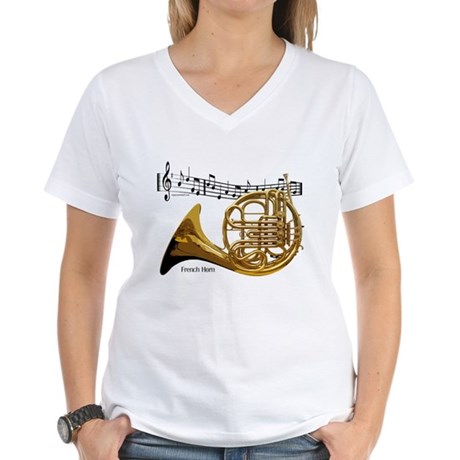 French Horn Music Women's V-Neck T-Shirt