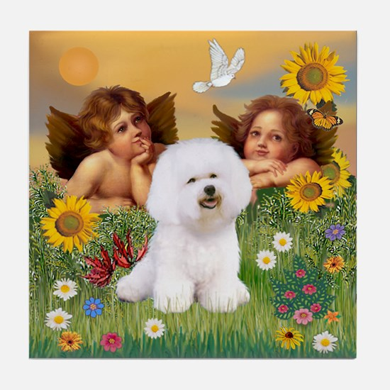 Angels & Bichon Frise Tile Coaster
