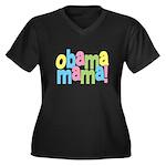 Obama Mama Women's Plus Size V-Neck Dark T-Shirt