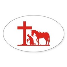 COWBOY PRAYER Oval Decal