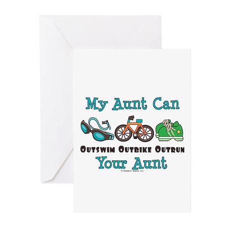 Aunt Triathlete Triathlon Greeting Cards (Pk of 10