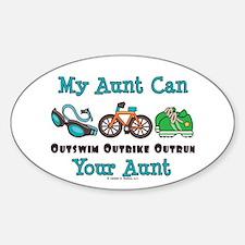 Aunt Triathlete Triathlon Oval Decal