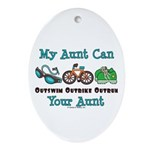 Aunt Triathlete Triathlon Oval Ornament