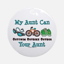 Aunt Triathlete Triathlon Ornament (Round)