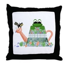 Lilly's Pad Watering Can Throw Pillow