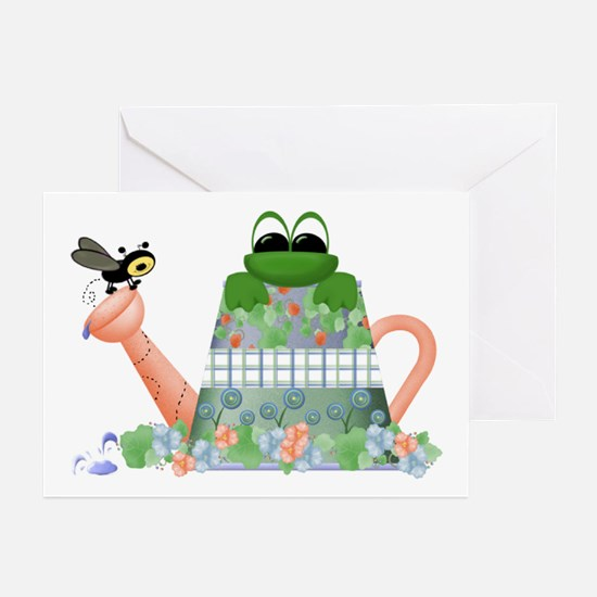 Lilly's Pad Watering Can Greeting Cards (Package o