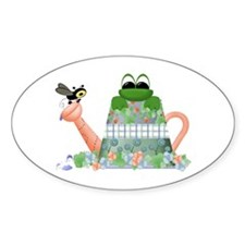 Lilly's Pad Watering Can Oval Decal