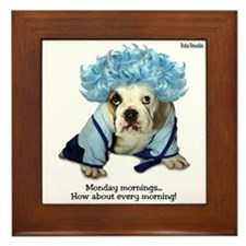 Monday Morning Bulldog Framed Tile