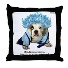 Monday Morning Bulldog Throw Pillow