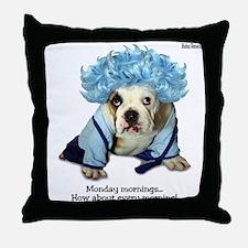 Monday Morning Bulldog Throw Pillow