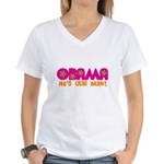 Flower Power Obama Women's V-Neck T-Shirt