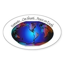 Namaste, Peace on Earth Oval Decal