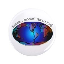 """Namaste, Peace on Earth 3.5"""" Button (100 pack"""
