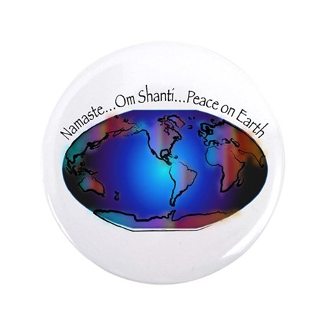 "Namaste, Peace on Earth 3.5"" Button (100 pack"