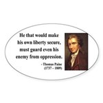 Thomas Paine 3 Oval Sticker