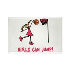 Girls Can Jump Basketball Rectangle Magnet