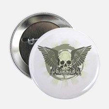 """Grungy Winged Skull 2.25"""" Button"""