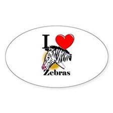 I Love Zebras Oval Decal