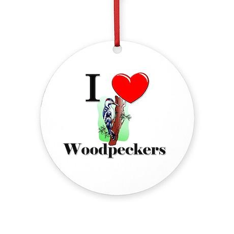 I Love Woodpeckers Ornament (Round)