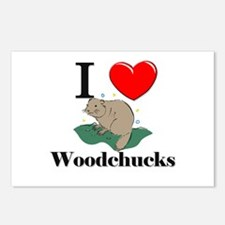 I Love Woodchucks Postcards (Package of 8)