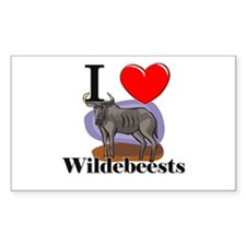 I Love Wildebeests Rectangle Decal