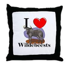 I Love Wildebeests Throw Pillow