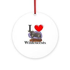I Love Wildebeests Ornament (Round)