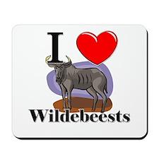 I Love Wildebeests Mousepad