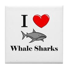 I Love Whale Sharks Tile Coaster