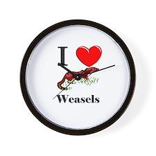 I Love Weasels Wall Clock
