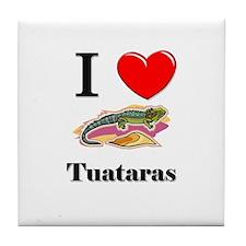 I Love Tuataras Tile Coaster