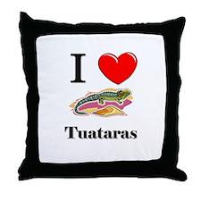 I Love Tuataras Throw Pillow