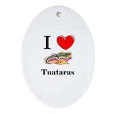 I Love Tuataras Oval Ornament