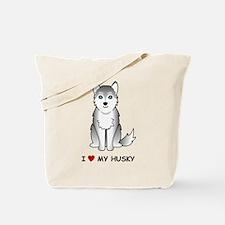 Grey Siberian Husky Tote Bag