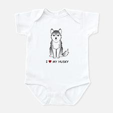Grey Siberian Husky Infant Bodysuit