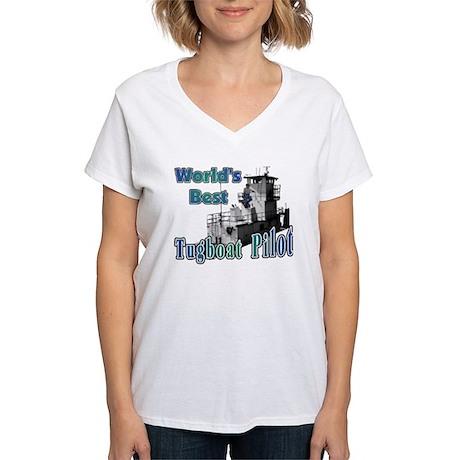 World's Best Tugboat Pilot t Women's V-Neck T-Shir