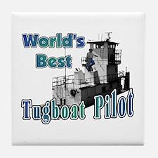 World's Best Tugboat Pilot t Tile Coaster