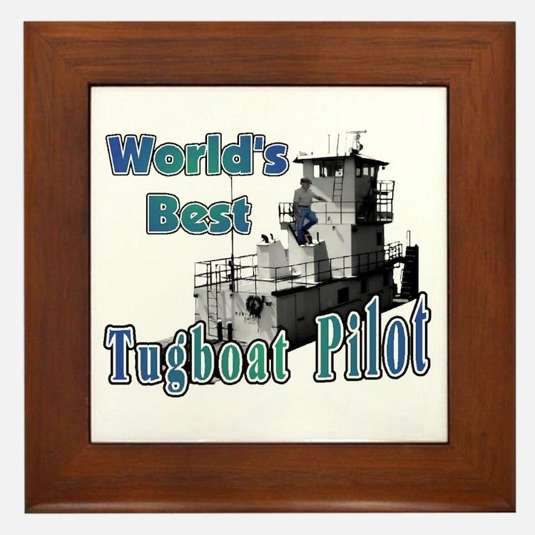 World's Best Tugboat Pilot t Framed Tile