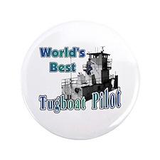 "World's Best Tugboat Pilot t 3.5"" Button"