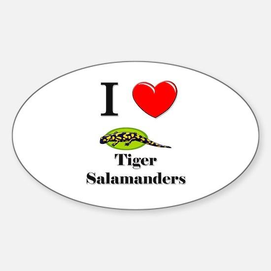 I Love Tiger Salamanders Oval Decal