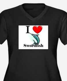 I Love Swordfish Women's Plus Size V-Neck Dark T-S