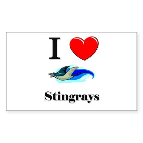 I Love Stingrays Rectangle Sticker