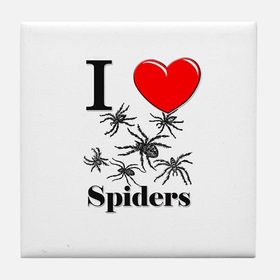 I Love Spiders Tile Coaster