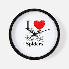 I Love Spiders Wall Clock