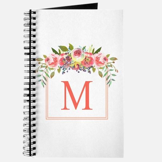 Peach Floral Wreath Monogram Journal