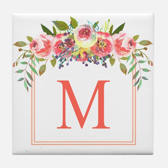 Peach Floral Wreath Monogram Tile Coaster