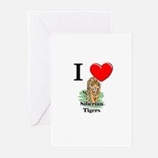 I Love Siberian Tigers Greeting Cards (Pk of 10)
