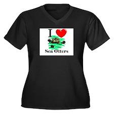 I Love Sea Otters Women's Plus Size V-Neck Dark T-
