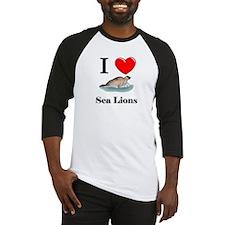 I Love Sea Lions Baseball Jersey