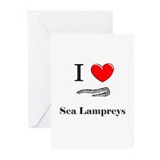 I Love Sea Lampreys Greeting Cards (Pk of 10)